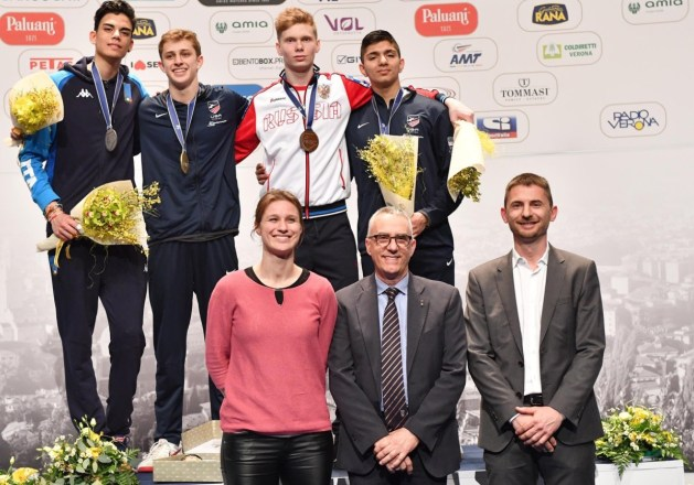 2018 Fencing Cadet and Junior World Championship: Gold - Nick Itkin (USA), Silver - Tommaso Marini (ITA), Bronze - Grigoriy Simenyuk (RUS) and Sidarth Kumbla (USA)