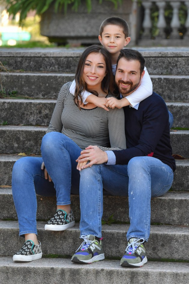 Mara Navarria with her husband and personal trainer Andrea La Coco and their son Samuele