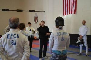 Michael Marx Explains Fencing Tactics to Students