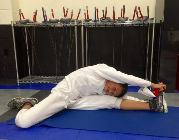 Pre-competition warm-up routine for young fencers
