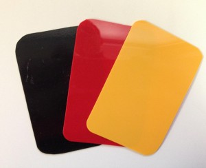 US Fencing Penalty Cards - Yellow Card (for first warning type of fencing penalties) , Red Card (for second warning or more serious offence - result in touch awarded to opponent) and Black Card (for very serious offence - results in exclusion from the competition)