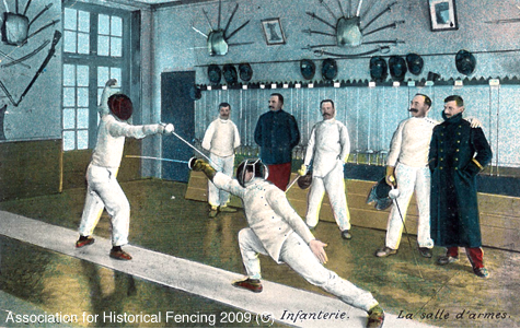 Fencing training in 19th century postcard (credit: Association for Historical Fencing)
