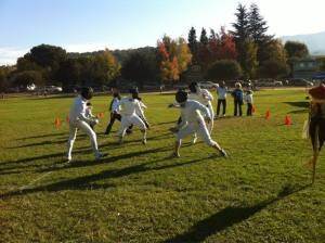 Fencing Demo at elementary school Walk-a-Thon