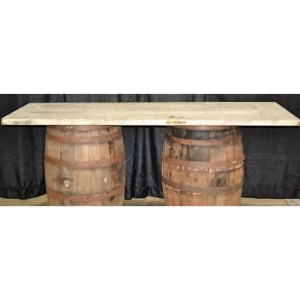 Whiskey barrel gift table rental