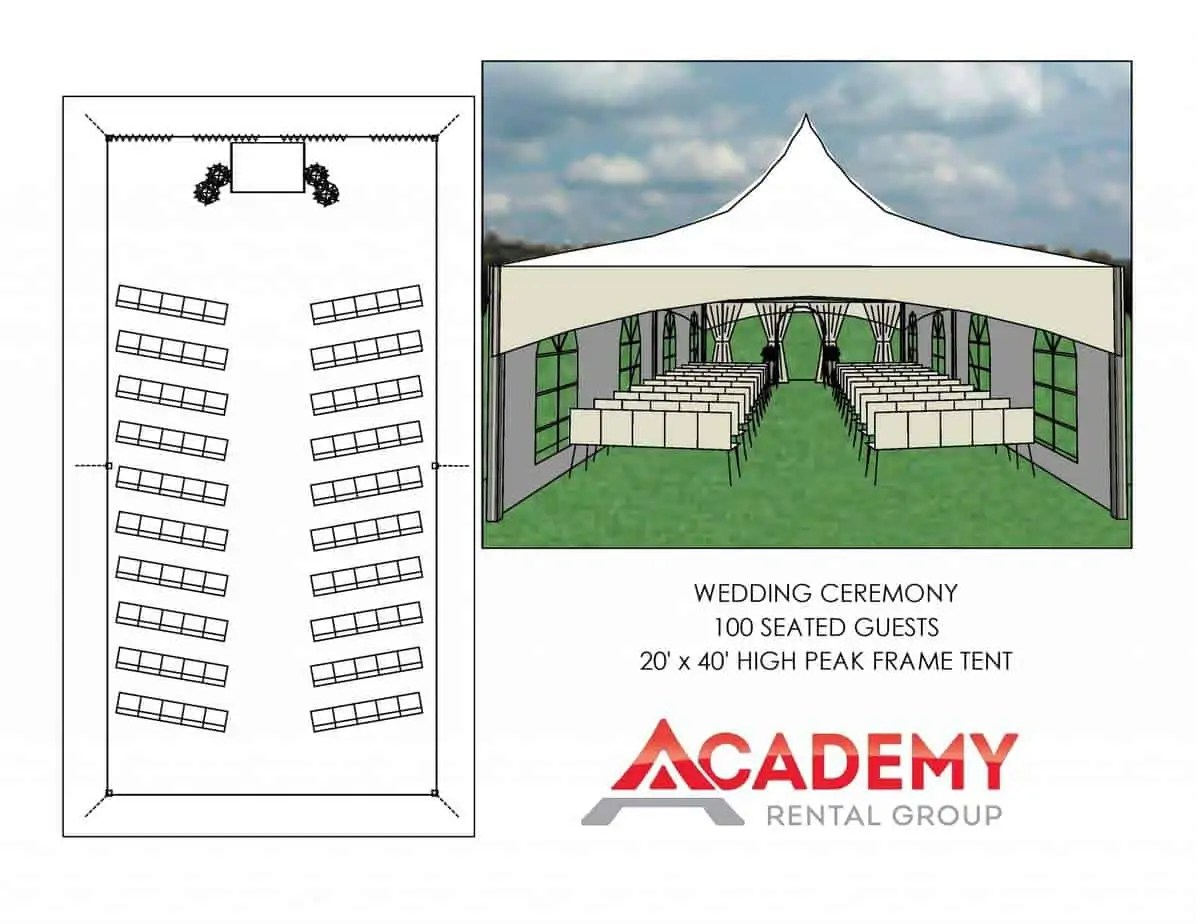 100 Guests Ceremony Tent Layout