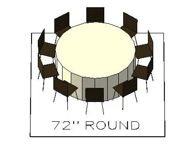 How many chairs fit around a 72 inch round table