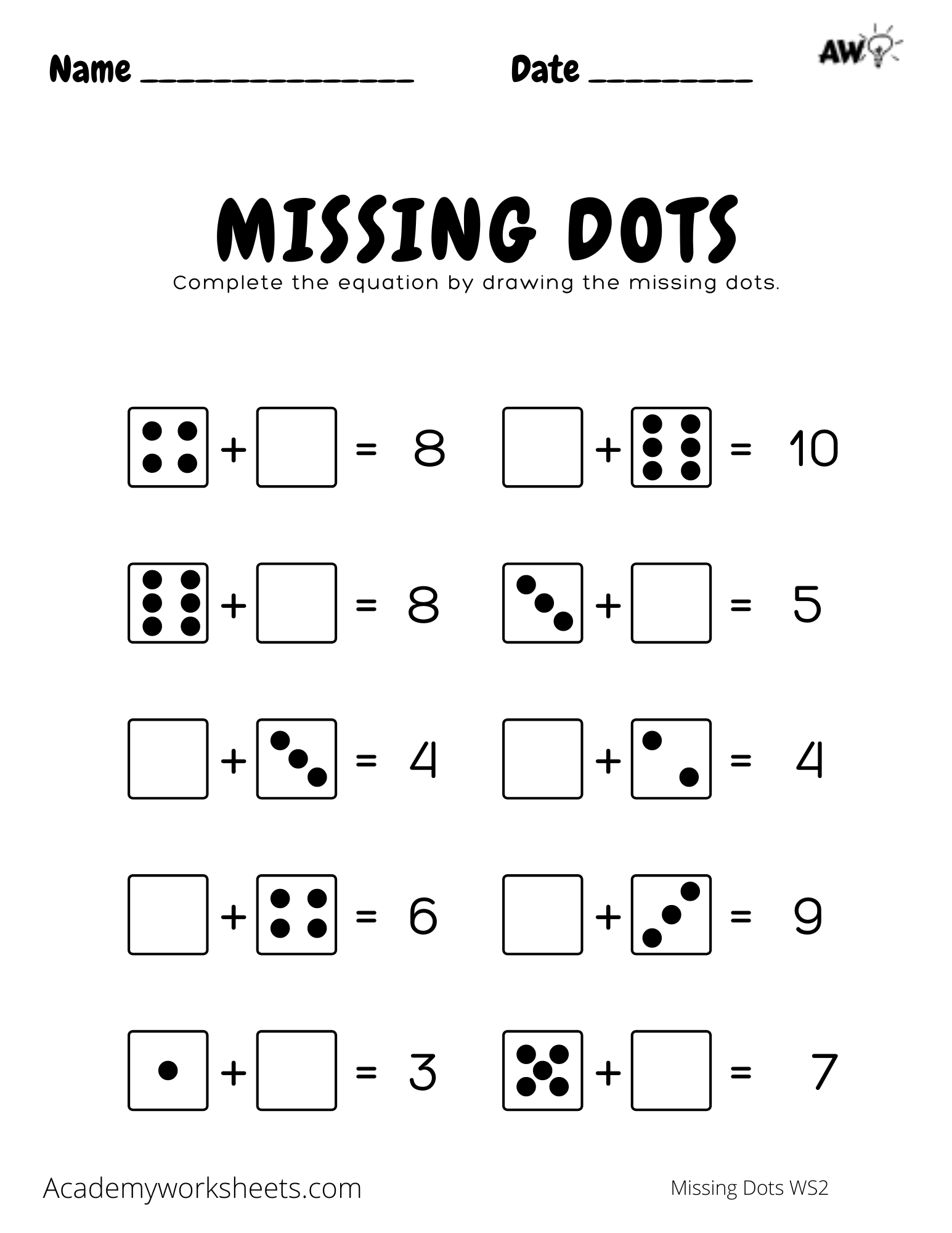 Missing Dots Addition Worksheets