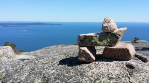 A Bates-style cairn, located off the Champlain North Ridge Trail, overlooks tiny Egg Rock and the Schoodic Peninsula.