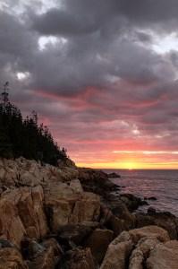 sunrise near Bass Harbor Head Light in Acadia National Park