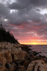 sunrise near Bass Harbor Head Light in Acadia National Park