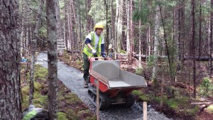 Roger Currier, trail worker at Acadia National Park, operates Canycom carrier.