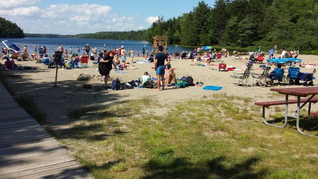 People at Echo Lake in Acadia National Park