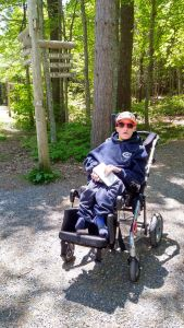 Michael Kelley in his wheelchair on the Eagle Lake Carriage Road in Acadia National Park.
