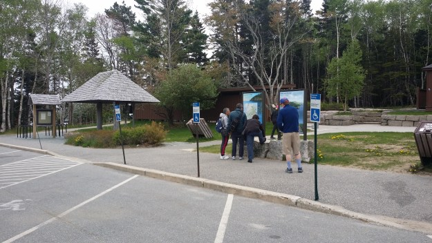 Parking spots for the disabled at Sand Beach in Acadia National Park
