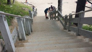 Stairs to Sand Beach in Acadia National Park