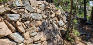 Rock wall on Beachcroft Path in Acadia National Park