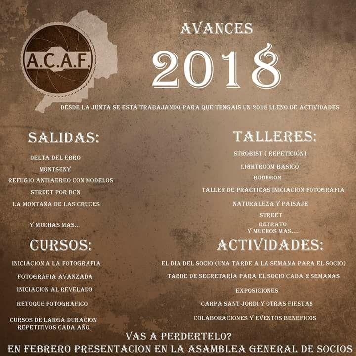 Avance actividades ACAF 2018