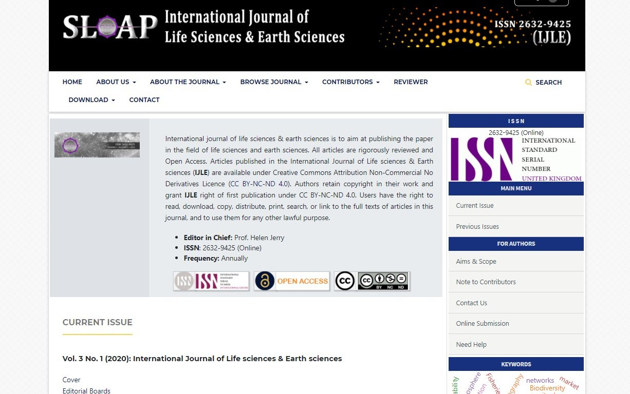 International journal of life sciences & earth sciences (IJLE)