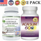 Coconut Colon Detox Caps Acai Slim Berry Fat Burner Weight Loss Pills 2 Pack