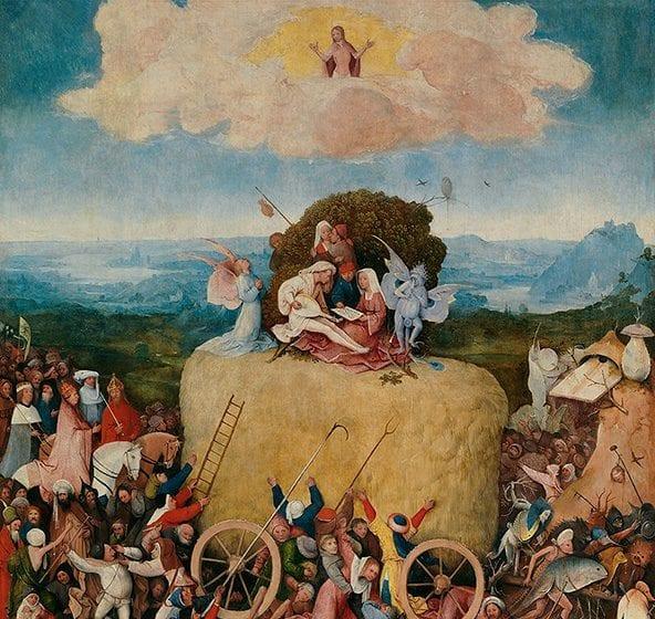 """Tabla central de """"El carro de heno"""". Óleo sobre tabla del pintor holandés El Bosco"""