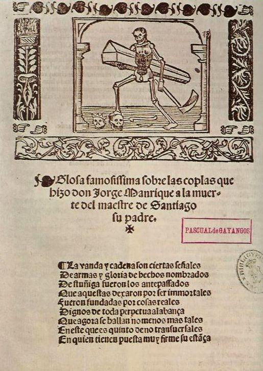 """""""Coplas a la muerte de su padre"""" autor Jorge Manrique. Biblioteca Nacional de Madrid."""
