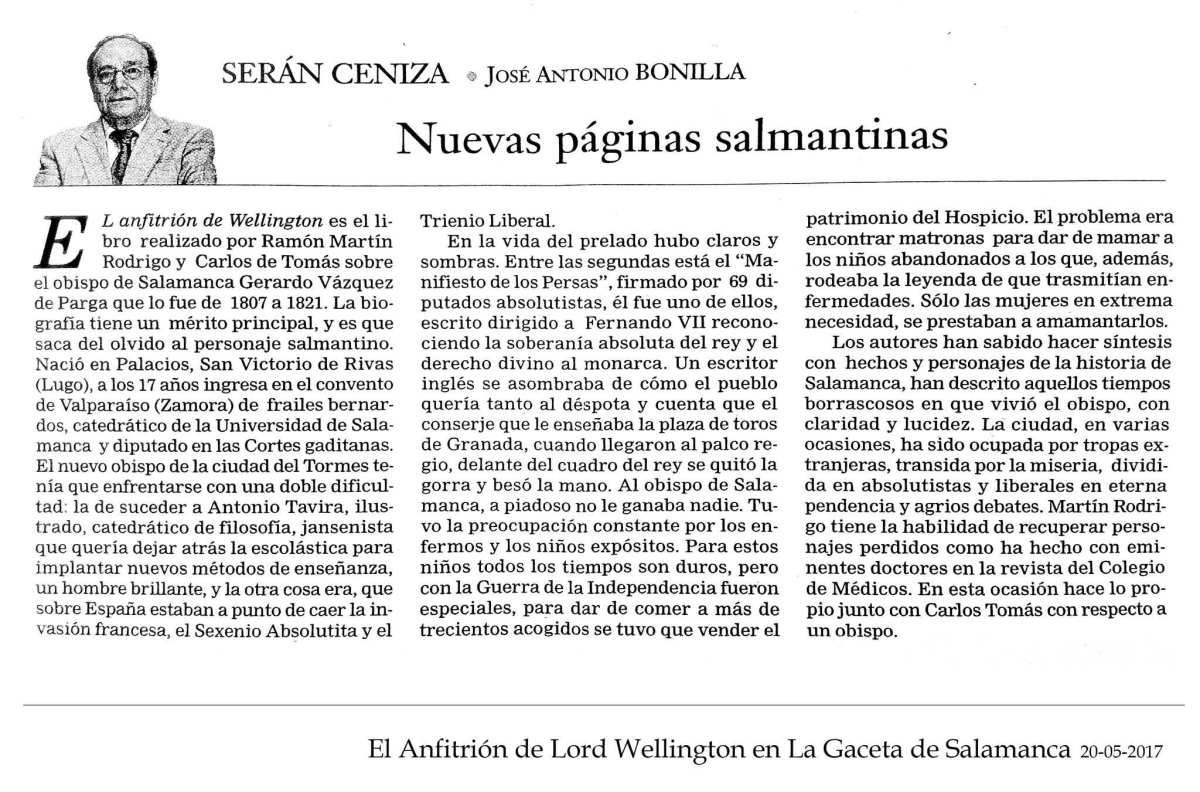 Serán Ceniza - José Antonio Bonilla - La Gaceta de Salamanca 20-05-2017