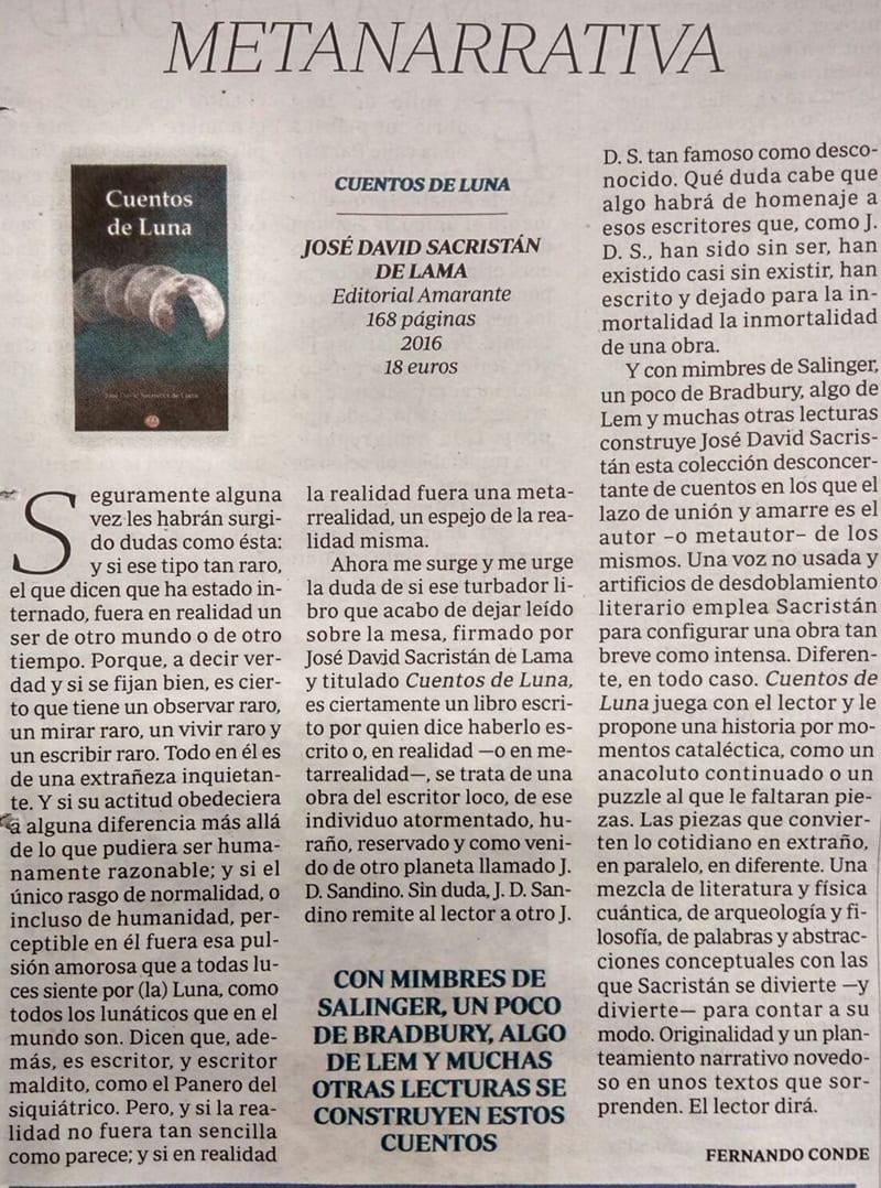 ABC - Cultural - Fernando Conde - Cuentos de Luna - José David Sacristán de Lama - Editorial Amarante