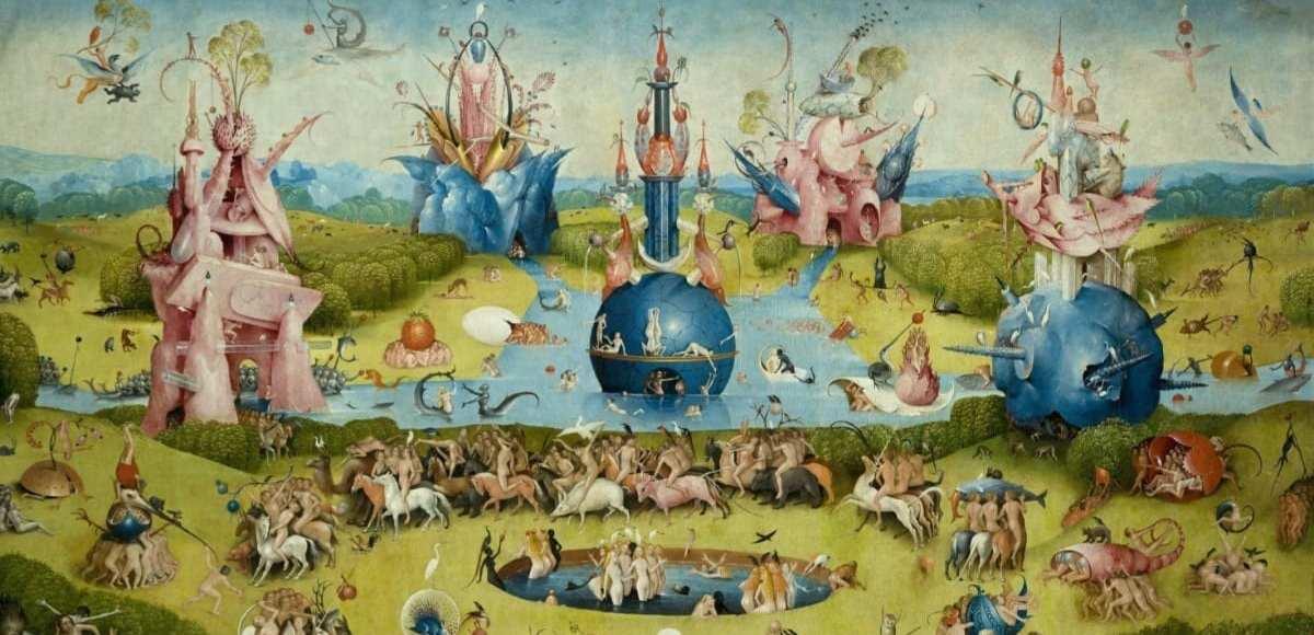 El jardín de las delicias, óleo sobre tabla, 220 × 389 cm, Madrid, Museo del Prado.