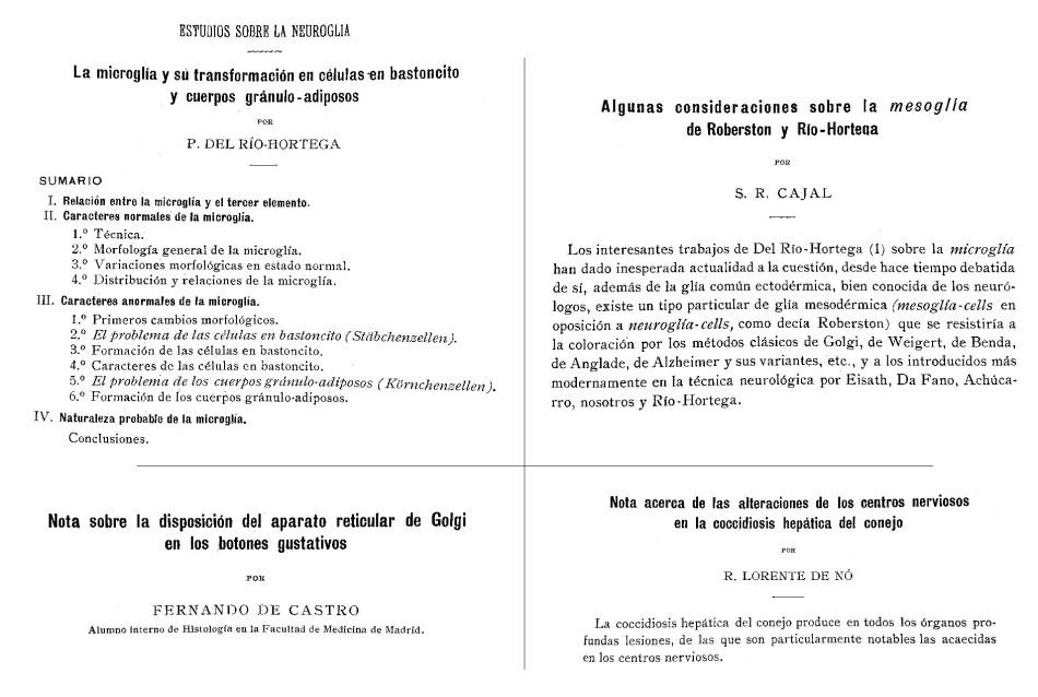 Artículos publicados por Río Hortega, Ramón y Cajal , Fernando de Castro y Rafael Lorente de Nó en Trabajos del Laboratorio de Investigaciones Biológicas.