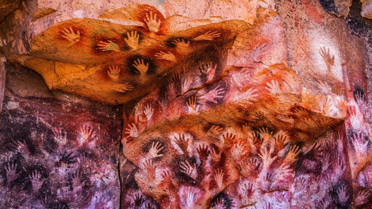 """""""Cueva de las manos"""", Argentina. Pintura rupestre."""
