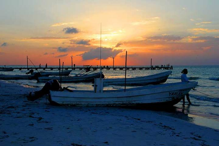 Por do sol em Holbox. Foto: Angela Manta