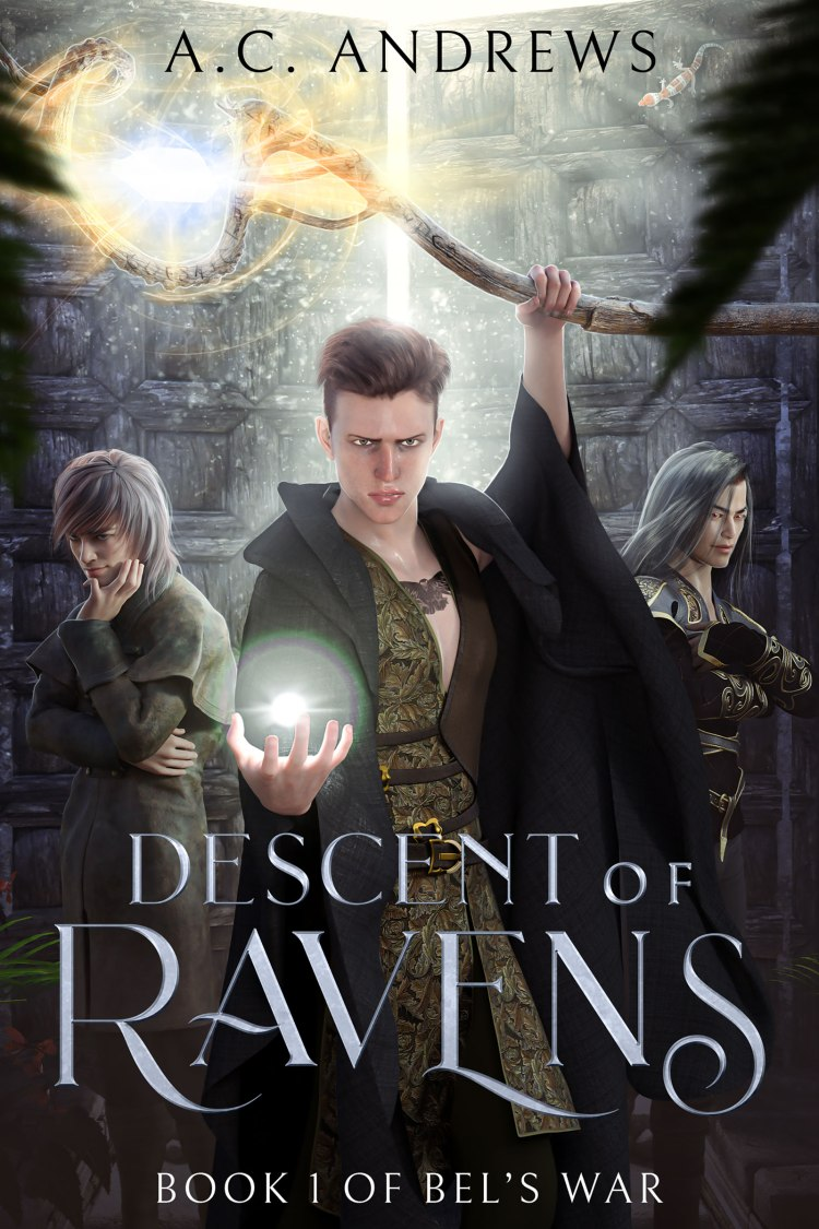 Book cover, depicting a young man wielding light magic and a staff with two figures in the background.