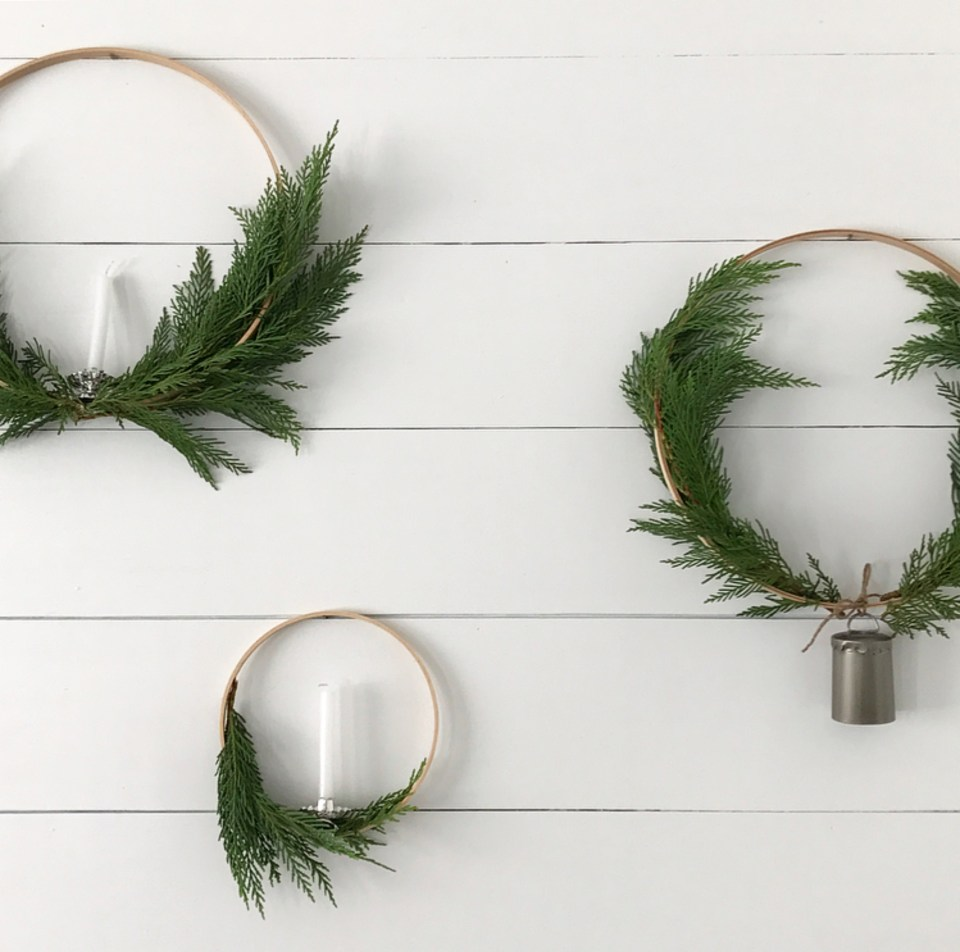 First things first, gather the materials. Please note, for the small wreath  I used a 7″ embroidery hoop and for the large wreaths I used a 12″ hoop, ...