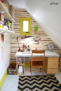 Idee per la zona ufficio - La parete diventa una bacheca gigante con dei listelli di legno che creano una trama originale