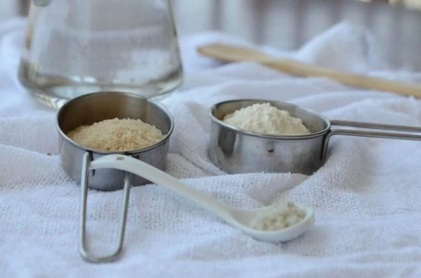 ingredientes para a primeira etapa do fermento de garrafa
