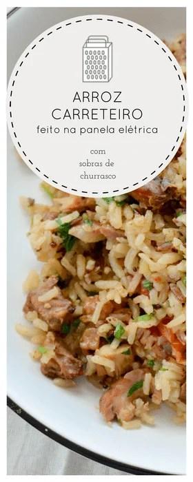 Receita de arroz de carreteiro para aproveitar as sobras de churrasco feito na panela elétrica
