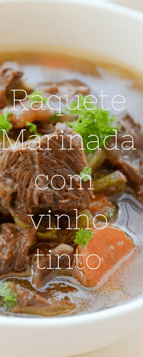 Receita de raquete marinada com vinho tinto e cozida com legumes