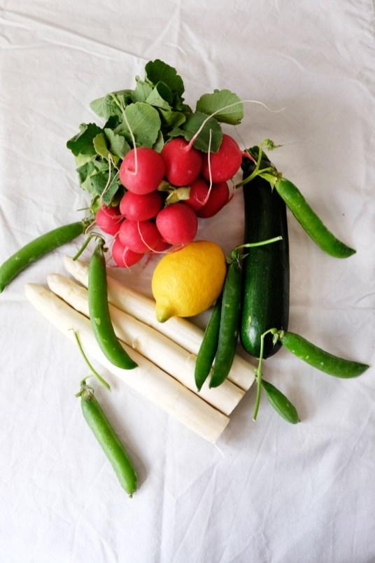 Radieschen, Spargel, Zucchini, Erbsen, Zitrone