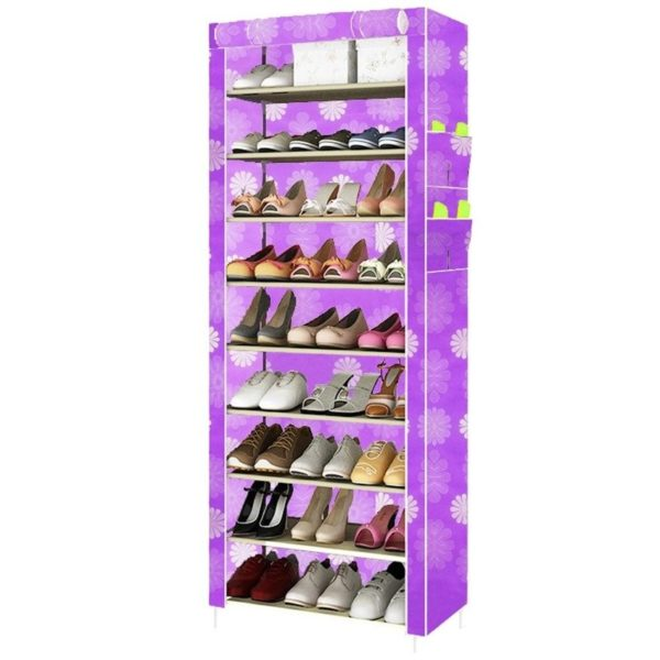 quality 10 layer 9 grid shoe rack cabinet storage with pockets acbshop