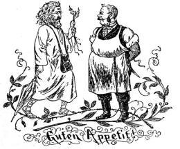 """Disegno satirico del 1882 su Diefenbach come Kohlrabi-Apostel (apostolo-rapa) il macellaio osserva scettico l'artista vegetariano augurando """"Buon appetito"""""""