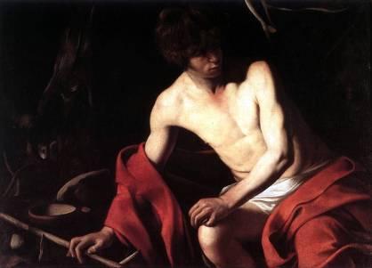 San Giovanni Battista 1604 circa, olio su tela 94 × 131 cm, Galleria di Palazzo Corsini (Quinta versione rispetto a quella del 1598 di Toledo).