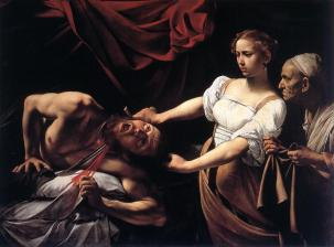 Giuditta e Oloferne 1599, olio su tela 145 × 195 cm, Galleria Nazionale d'Arte Antica.