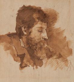 Autoritratto di profilo, inchiostro a penna e acquerellato, GDS 2874