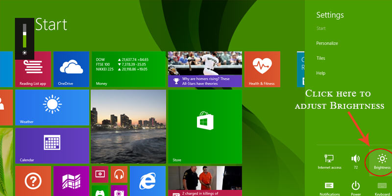 Adjusting display brightness in windows 8.1