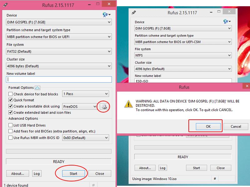 Make bootable flash drive using Rufus