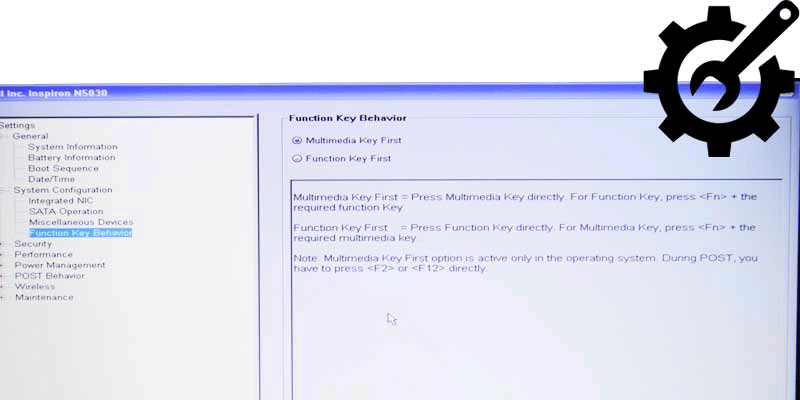 BIOS settings to change function key to multimedia