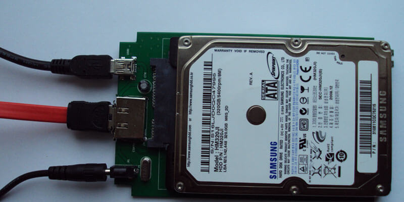 Laptop hard drive connected externally