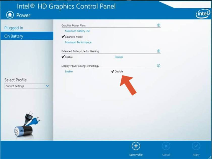 Intel-Graphics-Control-panel window to disable  Display Power saving Technology