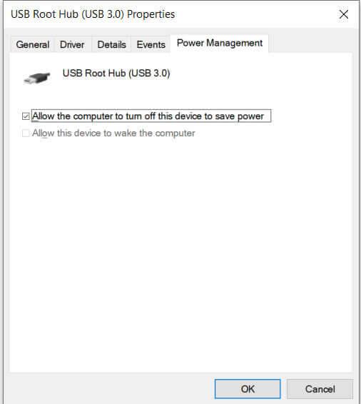 USB power management settings
