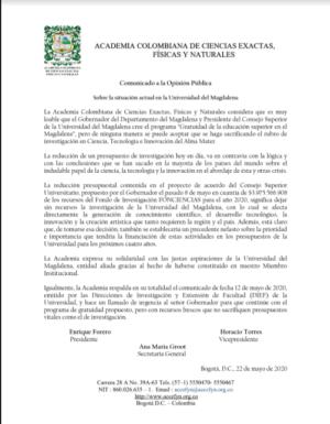 Comunicado a la Opinión Pública  Sobre la situación actual en la Universidad del Magdalena